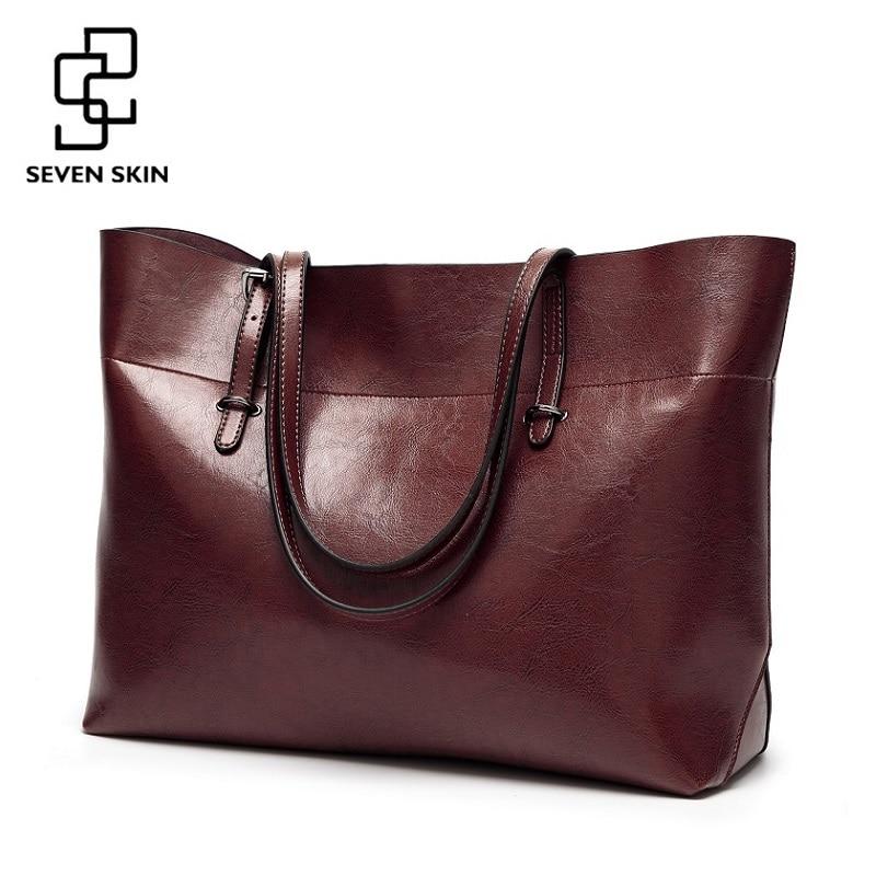 SIEBEN HAUT Frauen Messenger Taschen Große Größe Weibliche Casual Tote Tasche Solide Leder Handtasche Schulter Tasche Berühmte Marke Bolsa Feminina