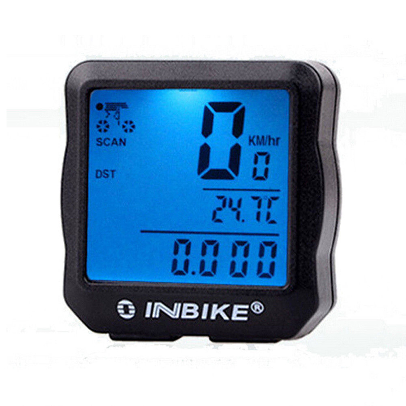 INBIKE Waterproof Bicycle Cycling Bike Computer Speedometer Odometer LCD Backlight Light Colour:Blue