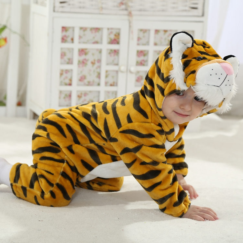 Baby Boy Girl Hooded Rompers Animal Cosplay Costume Newborn Infant Jumpsuit Tiger Clothes autumn newborn baby cotton rompers cartoon fox long sleeve boy clothes jumpsuit infant girls animal hooded costume baby product