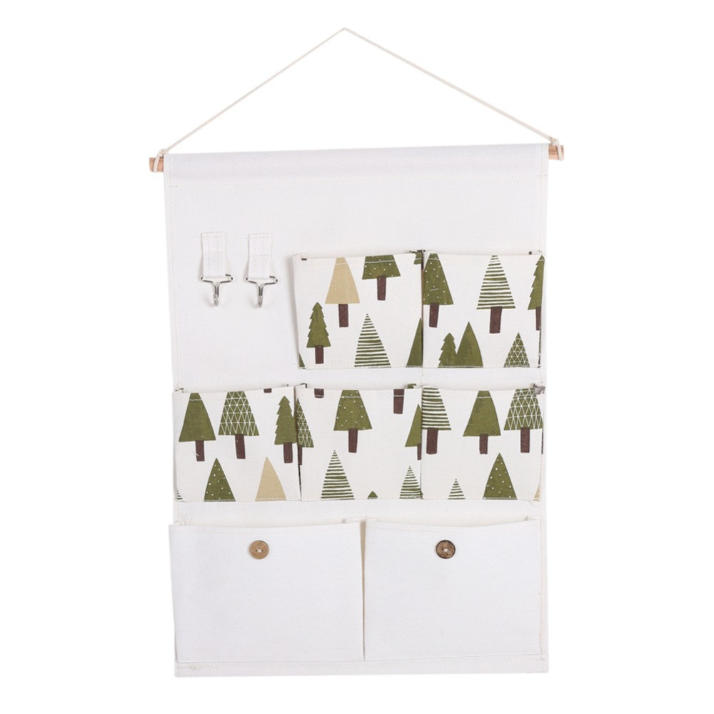Multi-layer 7 Pockets Wall Door Closet Hanging Storage Cotton and linen Bag with Rope Shelf Organizer Decor Wall Hanging