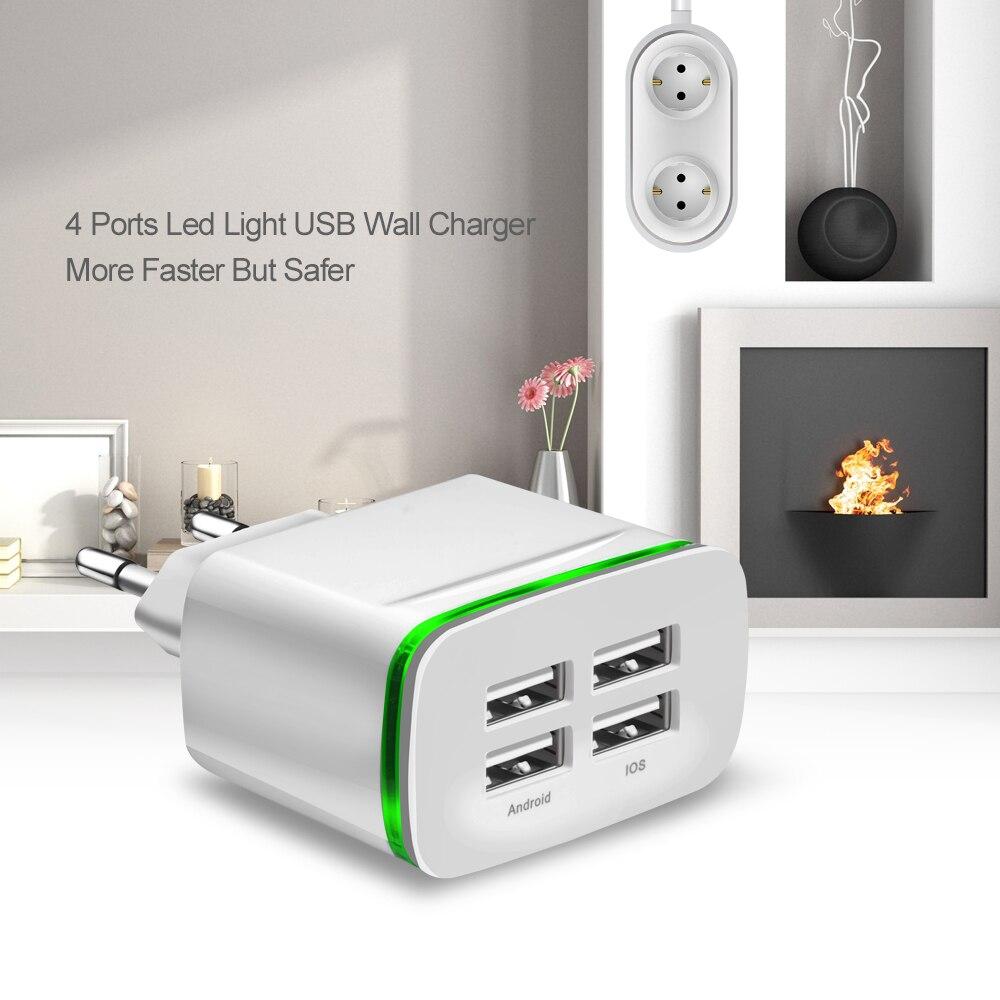 Универсальный 4 Порты и разъёмы USB Зарядное устройство адаптер 2.1A путешествия заряда светодиодный светильник Multi Порты и разъёмы USB Зарядное...