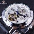 Forsining 2016, Классическая мода, турбийон, дизайнерские часы с белым серебристым циферблатом, синие, мужские часы, лучший бренд, Роскошные автома...