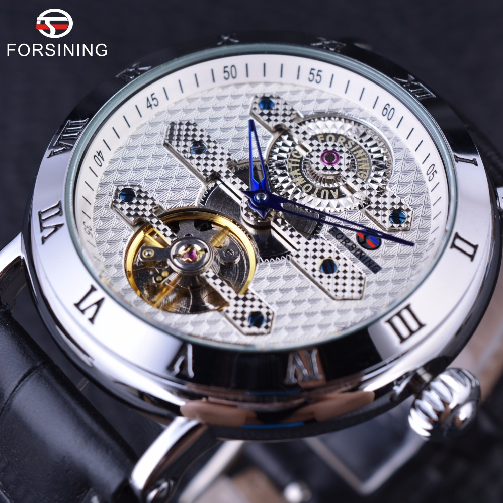 Forsining 2016 Classic Fashion Tourbillion Designer White Silver Dial Blue Hand Clock Men Watch Top Brand Luxury Automatic Watch forsining navigator series brown leather tourbillion watch blue dial calendar display men automatic watch top brand luxury clock