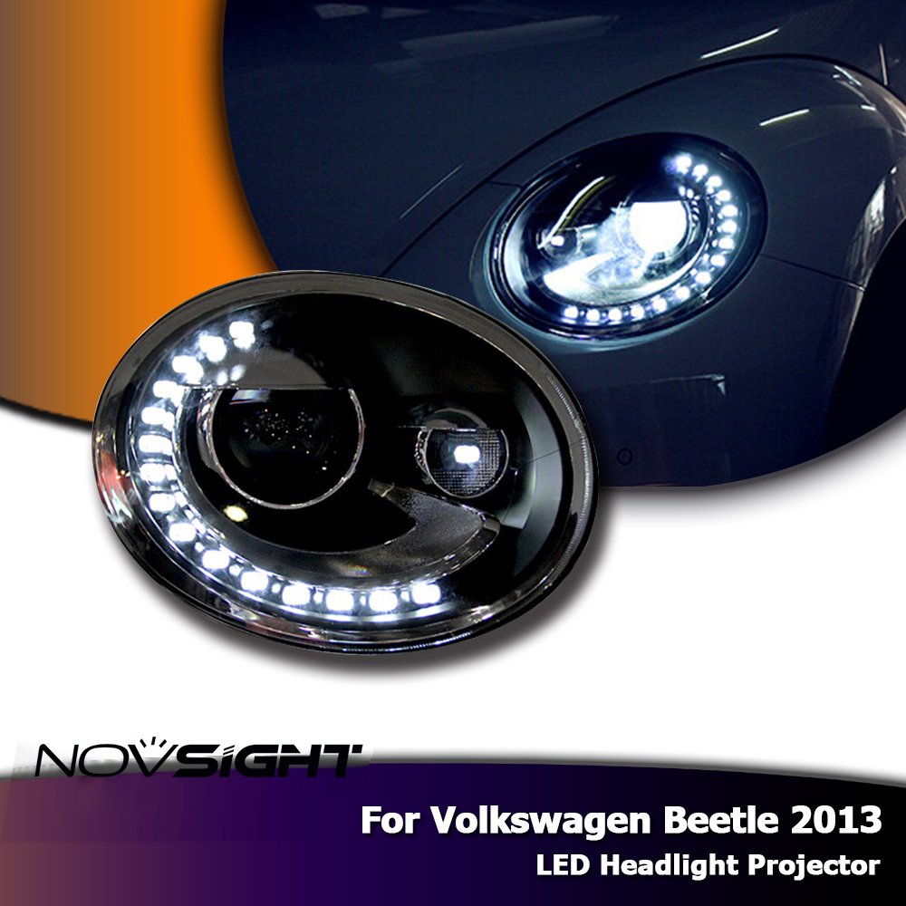 NOVSIGHT Auto Car LED Headlight Headlamp Assembly DRL Bi Xenon Lens For 2013 Volkswagen Beetle