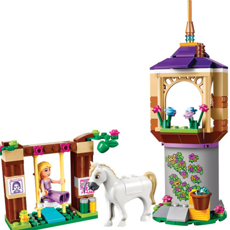 Diy Bela 145pcs compatible with legoing Girls Princess Series Rapunzel Castle Gardens Building Blocks Bricks Toys for children