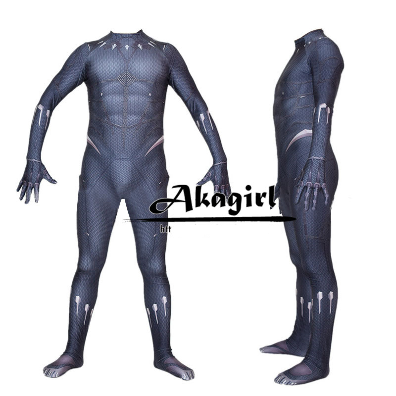 1:1 Deluxed Adult Black Panther Costume 3D Printed Black Panther Bodysuit Hallowen Cosplay Costume Roleplay Jumpsuits/mask