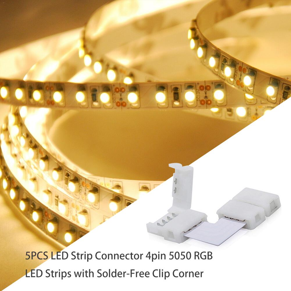 5PCS High Quality No Welding LED Strip Buckle Corner Connector 4 Pin 5050 RGB LED Strips With Solder-Free Clip Corner