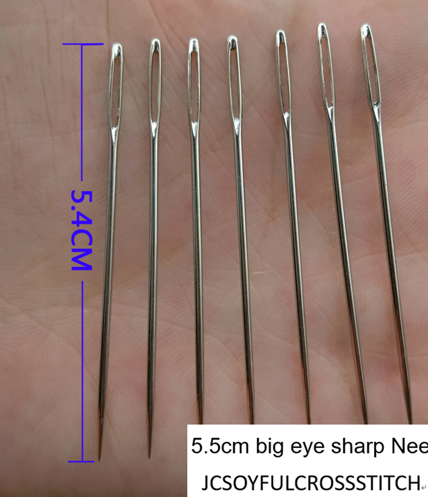 NWY 10 pcs/ot 5.4cm big eye sharp Needles for Ribbon embroidery big hole bodkin Craft ar ...