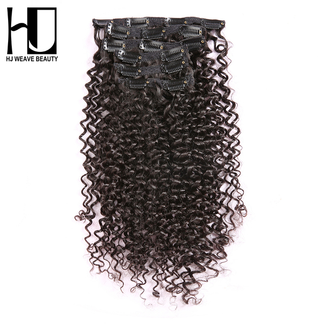 7a Hj Weave Beauty Kinky Curly Clip In Huma Hair Extensions 100g