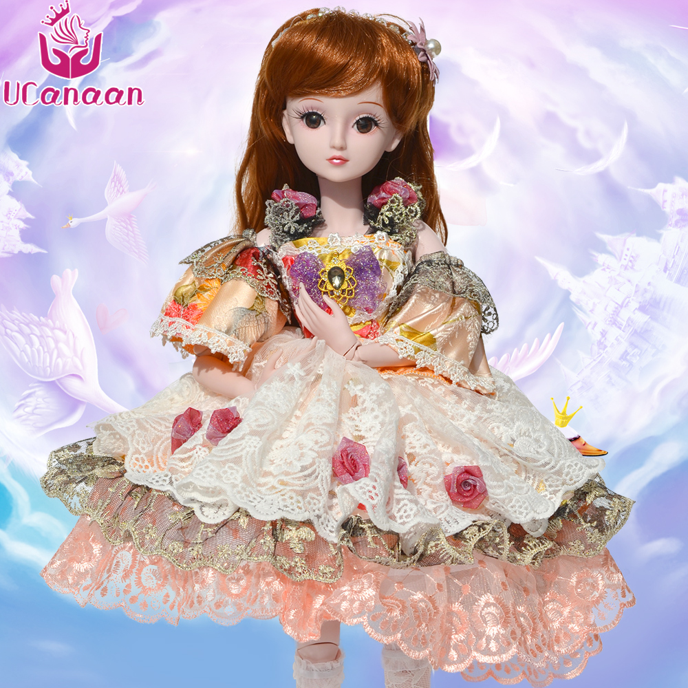 UCanaan 60CM Large BJD Doll 19 Ball Joint Dolls With Outfit Dress Wig Shoes Makeup Kids Toys DIY SD Dressup Silicone Reborn Doll ucanaan 1 3 bjd girl dolls 19 ball jointed doll with outfit dress wig eyes makeup sd dolls for girls collection kids toys boneca
