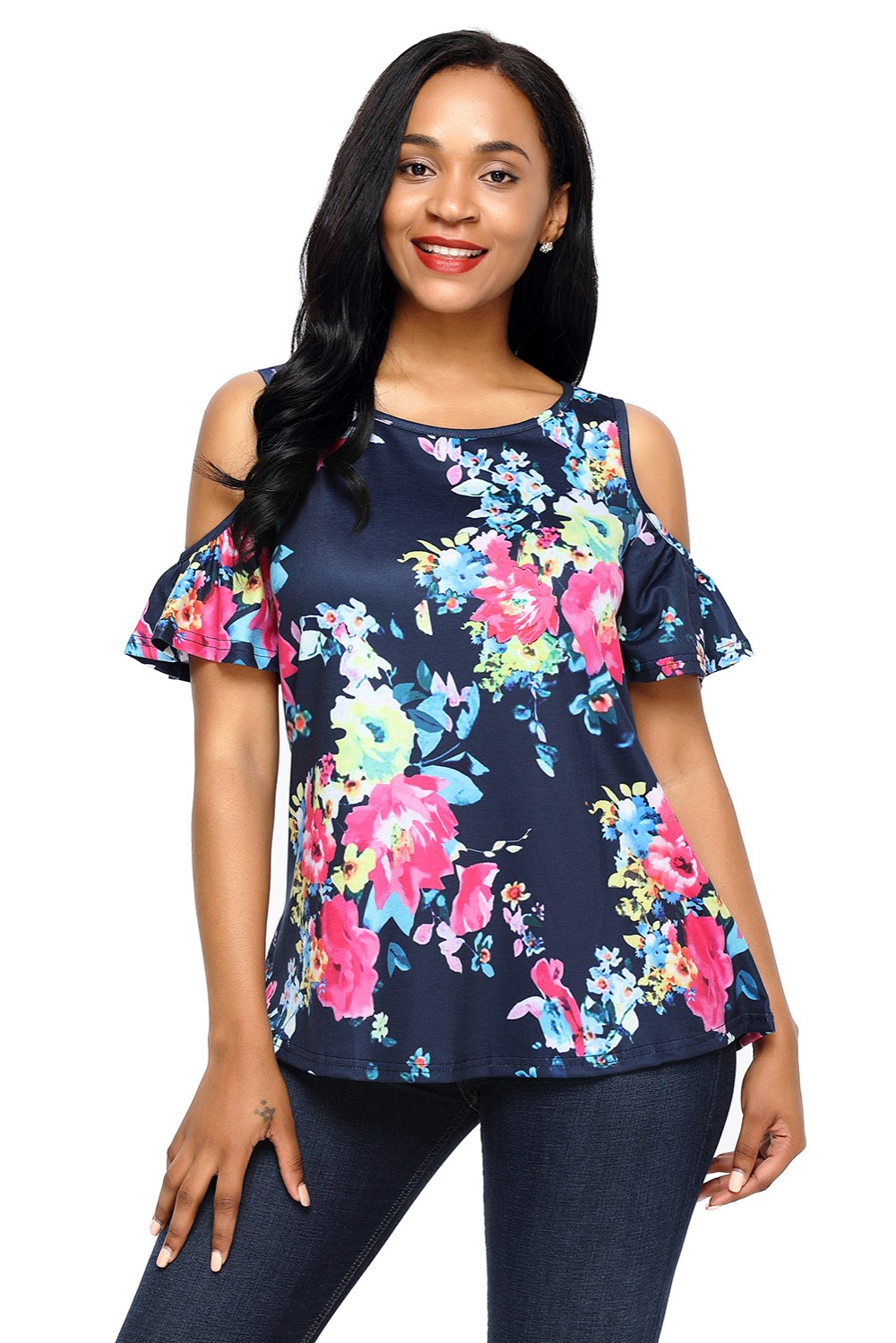 1a3eede76 Dear Lover Summer 2018 Pink Floral Print Black Background Cut-out Shoulder  Women Top Blusas Femininas Casual Ladies Top LC250124