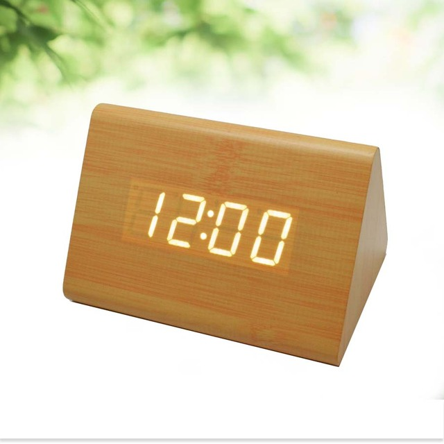 Vintage Wooden LED Clock Digital Alarm Clock Decorative Table Clocks  Control Sensing Alarm Temp Dual Display