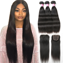 Brazilian Straight Hair Human Hair Bundles Med Lukke 3/4 Bundles With Closure Free Part Shuangya Remy Hair Extensions
