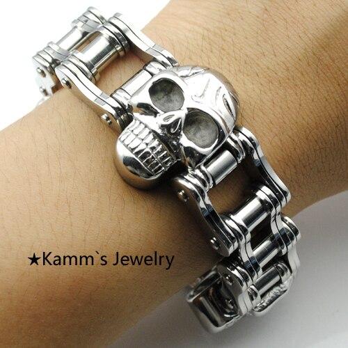 Bracelet crâne haute qualité poli argent 316L acier inoxydable bracelets congelés tribal Punk Rock gingembre boutons pression 2014 KB544