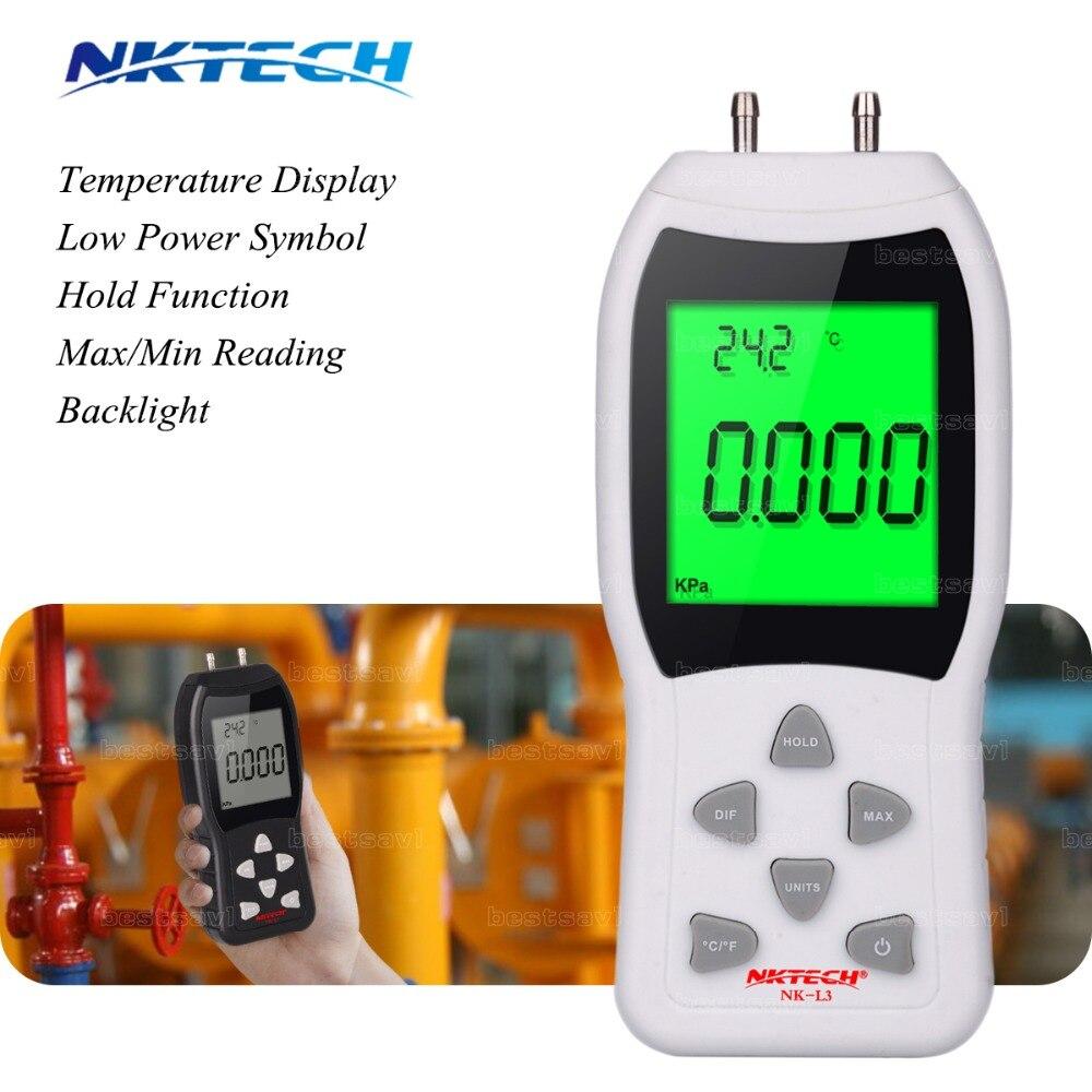 New Professional LCD Digital Manometer Differential Air Pressure Meter Gauge kPa 3Psi Temperature Measuring 12 NKTECH NK-L3  цены