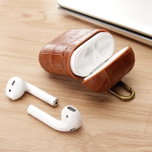 Luxury Genuine Leather Earphone Case For AirPods 1 Bluetooth Wireless Headphone Cover for Air Pods Protective Skin Keychain