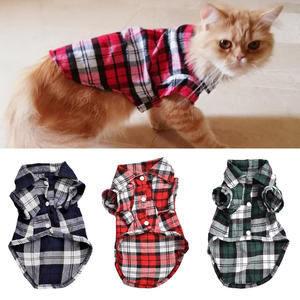 Classic Plaid Pet Cat Clothes for Cats Spring Summer Fashion Puppy Dog Cat Vest T shirt Kitty Kitten Shirts Outfits Pet Clothing(China)