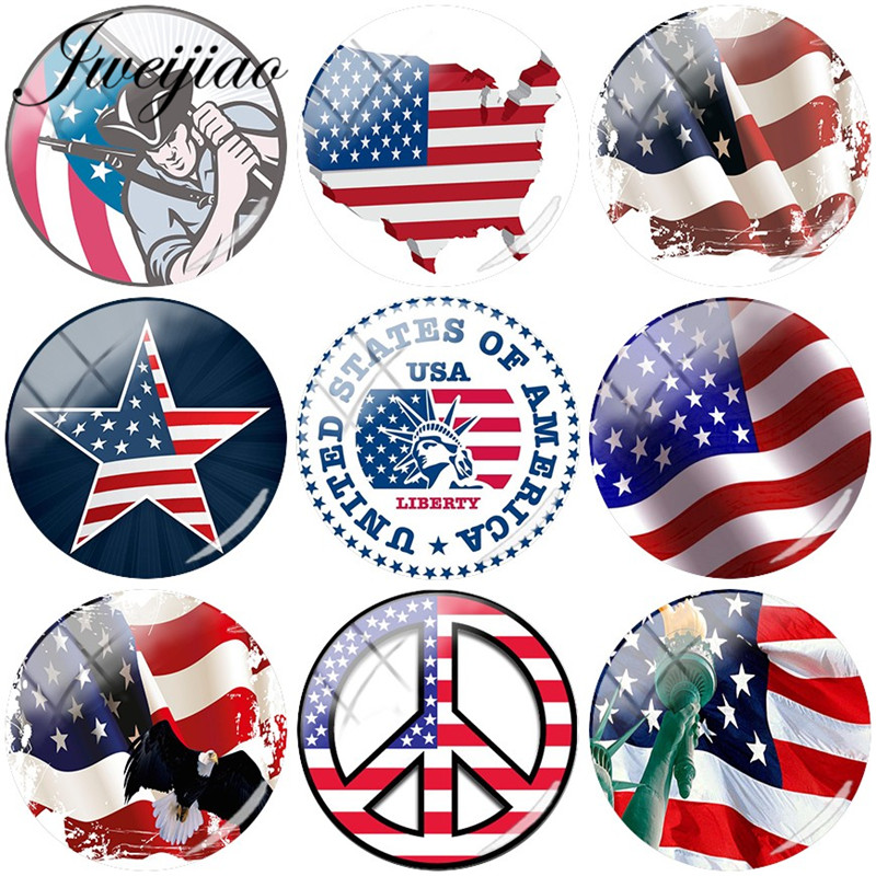 JWEIJIAO American Flag National Emblem Picture 12mm/15mm/16mm/18mm/20mm Glass Cabochon Dome For Bracelets Earrings Badge emblem