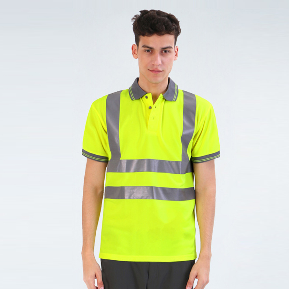 T-shirt Work Safety Clothing Workwear Dry Fit T-shirt Short Sleeve Reflective Safety Shirt Breathable(China)