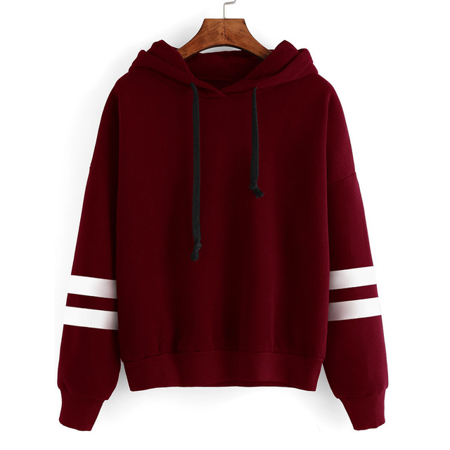 Fashion Striped Patchwork Women Long Sleeve Hooded T-Shirt Lady Casual Jumper Hoody Hip Hop Girl Pullover Fleece Tops Tee Nov24
