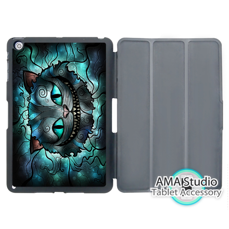 Cheshire Cat Alice Stained Glass Case For Apple iPad Mini 1 2 3 4 Air Pro 9.7 Stand Folio Cover 10.5 12.9 2016 2017 a1822 New