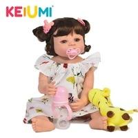 Lifelike 22'' Baby Girl Reborn Doll Vinyl Toy Realistic Princess Full Silicone Reborn Baby Dolls Newborn bebe Birthday XMAS Gift