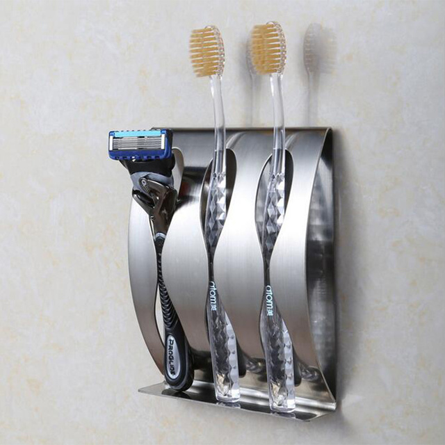 Stainless Steel Wall Toothbrush Holder 3 Self-Adhesive Shaver Holder Rustproof Toothbrush Storage Rack Box Bathroom Accessories