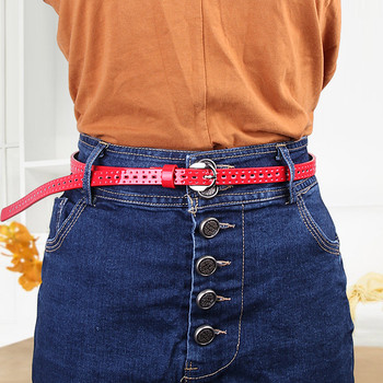 Vintage Female PU Hollow Thin Decorative Belt Black Coffee Red Blue Pin Buckle Leather Belts for Women Dress Jeans Skirt Kemer