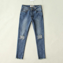 High Women Skinny Jeans New Fall Fashion Pencil Pants Denim Strech Blue Black Hole Ripped High Waist Plus Size Jeans CL0099
