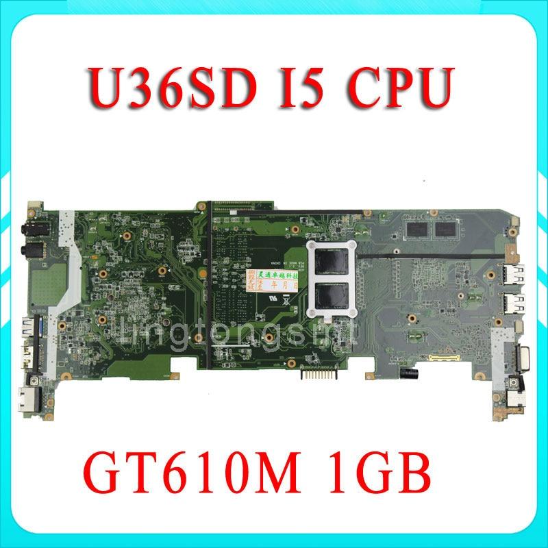 FOR ASUS U36S U36SG U44SG laptop motherboard U36SD REV2.1 Mainboard Processor I5 GT610 1G DDR3 tested ok brand new ziwb2 ziwb3 ziwe1 la b092p rev 1 0 for b50 70 laptop motherboard mainboard with with sr1ek core i3 4005u
