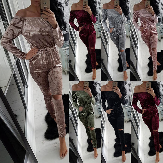 Fashion Long Jumpsuits For Women Solid Sexy Rompers Womens Jumpsuit 2016 Winter Overalls Popular Velvet Strapless Jumpsuit