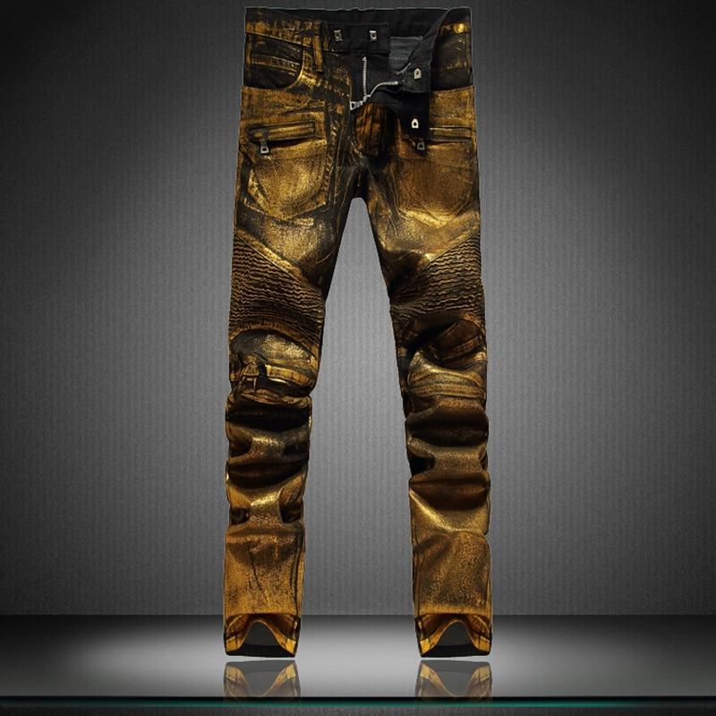 mens black denim gold painting coated stretch biker jeans