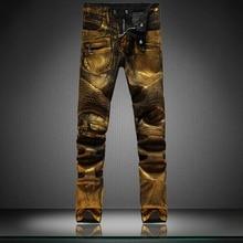Mens Black Denim Gold Painting Coated Stretch Biker Jeans Slim Straight Pleated Jean Pants Male Fashion Denim Cargo Casual Pants