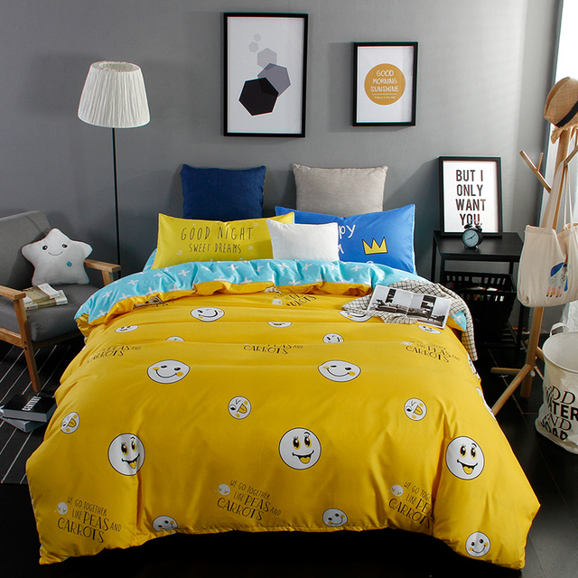 Home Textiles,Lovely Yellow Smiley Face Style Bedding Sets 3/4Pcs Duvet  Cover Bed