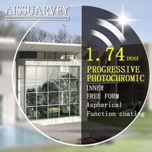 1,74 индекс Асферические Бесплатная прогрессивной формы фотохромные оптические стёкла серый Мультифокальные Bofical одежда высшего качества тонкий