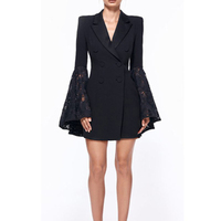 Elegant Black Women's Office Suit Dress Mini 2018 Summer Flare Sleeve Sexy V Neck Business Pary Dress Short Vestidos Tunic