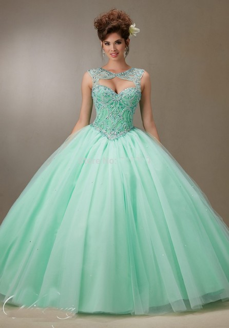 a5ed9b71118 New Arrival Sweetheart Beaded Bodice Ball Gowns Mint Green Quinceanera  Dresses Keyhole Back 2016