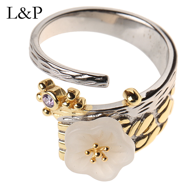 L&P Vintage Natural Jade Ring For Lady Authentic 925 Sterling Silver Handmade Adjustable Ring Fine Jewelry Wedding Gift vintage artificial jade embossed ring for women