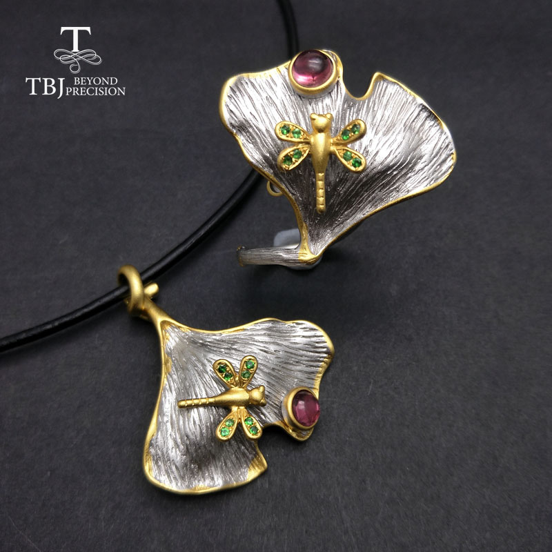 TBJ,natural pink tourmaline and tsavorite sets in 925 silver grey and yellow color best gift for women party wedding daily wear