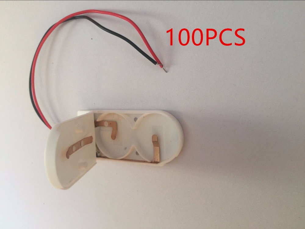 5x White CR2032 X 2 Button Coin Cell Battery Holder Case on//off Switch Wire Lead