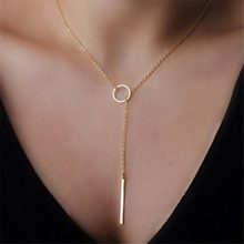 Fashion Simple long Stick Pendant Necklaces Metal Women Jewelry Choker Gold Silver Star Necklace on the Neck initial Chain(China)