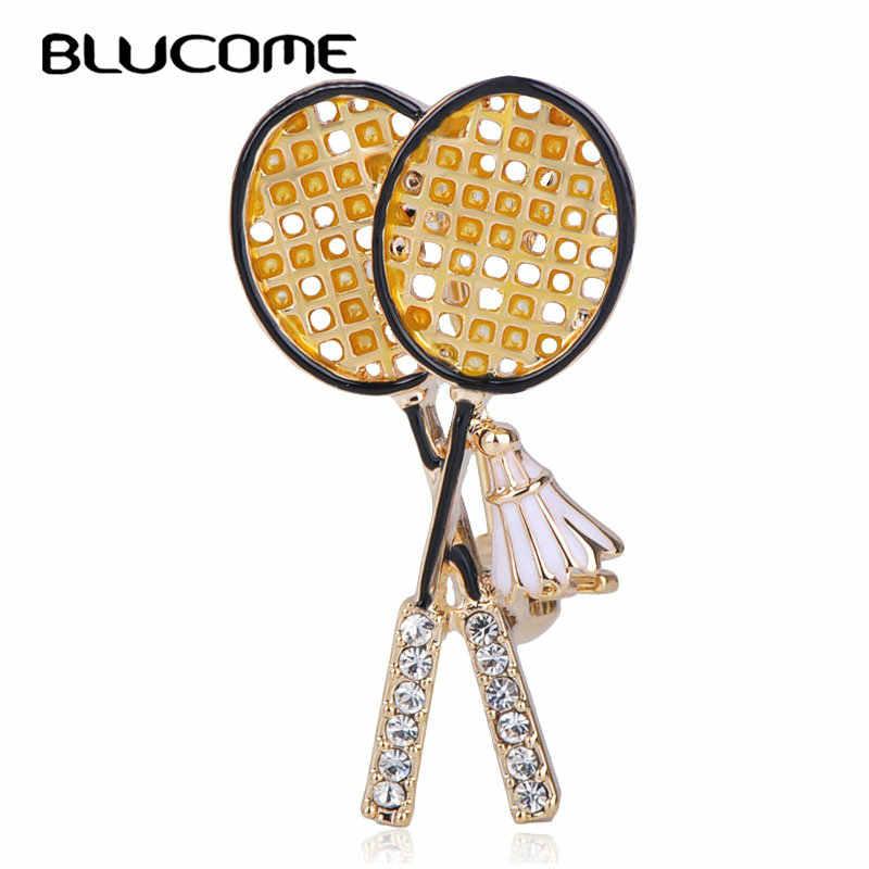 Blucome น่ารักขนาดเล็กแบดมินตันแร็กเก็ตรูปเข็มกลัดสีดำคริสตัลเครื่องประดับ Pins สำหรับกีฬาผู้หญิงเสื้อผ้ากระเป๋าเครื่องประดับ