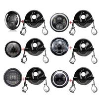 7 inch Motorcycle Headlamps Chrome Housing Headlight Light Bulb Bucket For Yamaha Honda Suzuki 7 Headlamp Brackets