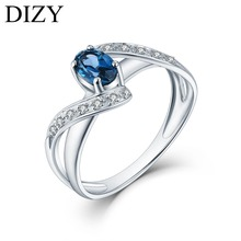 DIZY Natural London Blue Topaz Ring Solid 925 Sterling Silver Oval Cut Gemstone Ring For Women Wedding Gift Engagement Jewelry helon solid 10k white gold pear cut 1ct blue topaz ring engagement wedding natural diamond ring for women classic fine jewelry