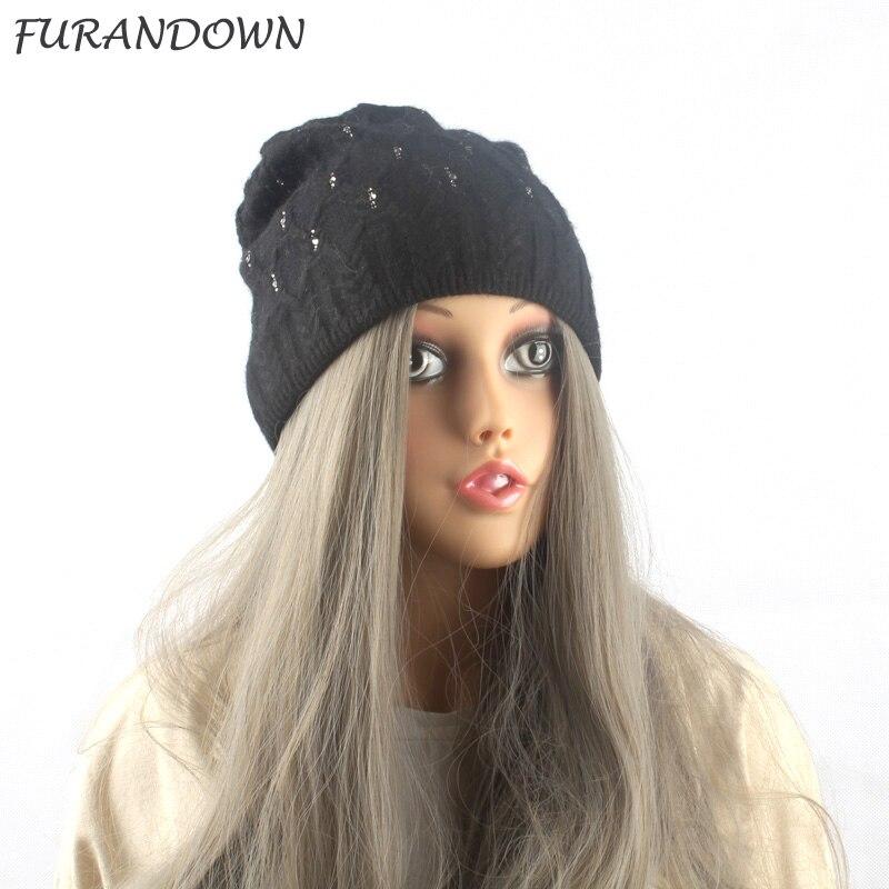 FURANDOWN Brand Winter diamond   Beanie   Hat Women Knitted Caps Adults Girls Hats Wool   skullies     Beanies   2017