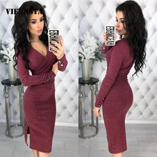VIEUNSTA Solid Deep V-neck Rib Knit Bodycon Dress Women Casual Long Sleeve Wrap Club Party Dress Elegant Autumn Winter Dresses cross wrap front rib knit bardot tee