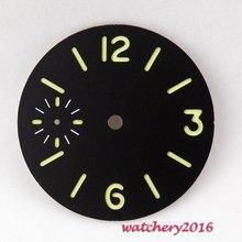 New 34.5mm Parnis black sterile luminous dial fit 6497 Movement Men's Watch dial