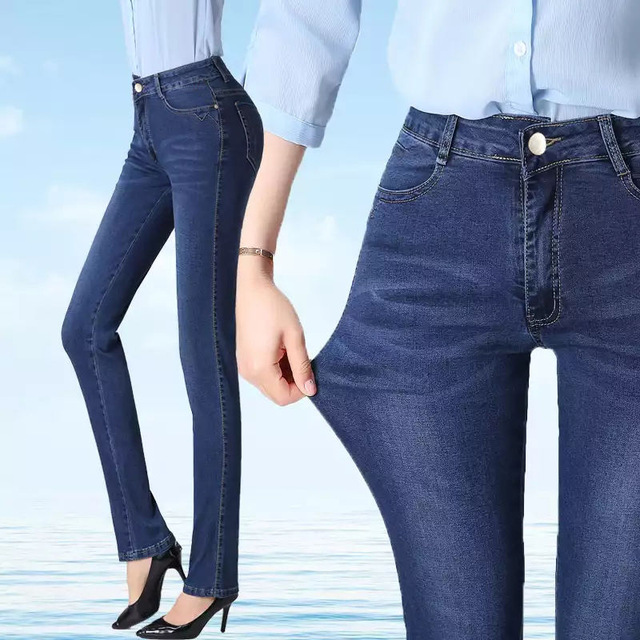 Plus Size Fashion Hot Embroidered Jeans Women Pant Skinny High Waist Stretch Slim Pencil Pants Denim Casual Jean Ladies Trousers