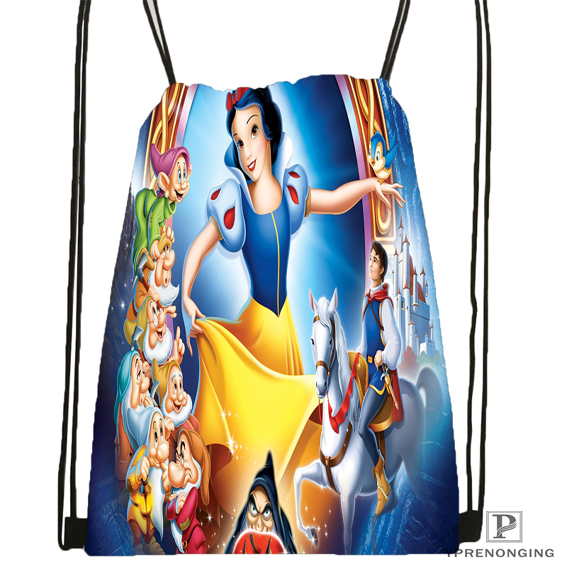 Custom Snow White Seven Dwarfs@09 Drawstring Backpack Bag Cute Daypack Kids Satchel (Black Back) 31x40cm#180531-02-36