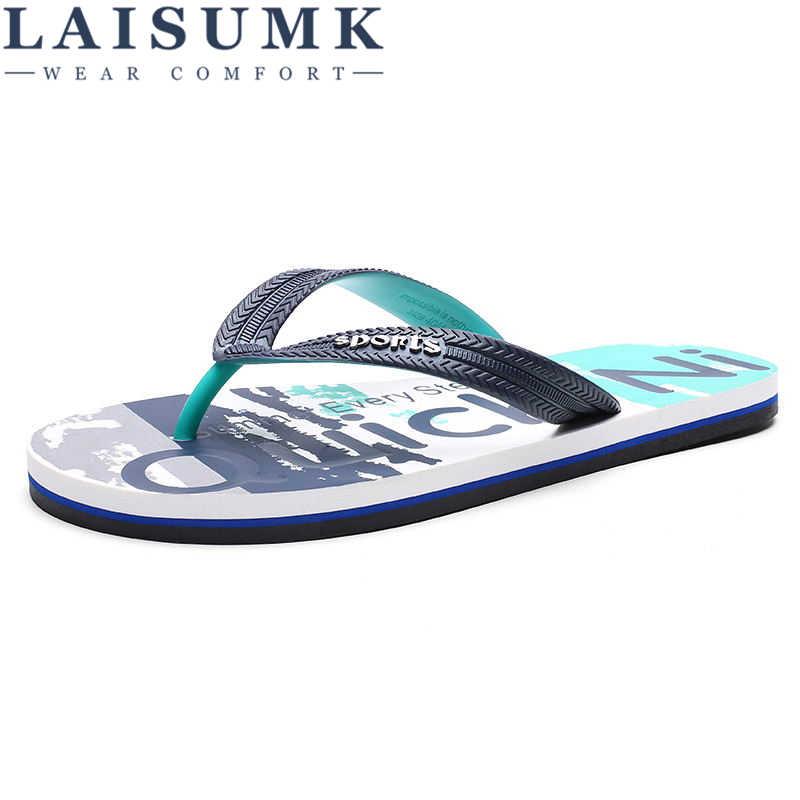 LAISUMK 2019 nowe męskie klapki japonki sandały na co dzień męskie buty moda lato plaża klapki japonki Sapatos Hembre Sapatenis Masculino